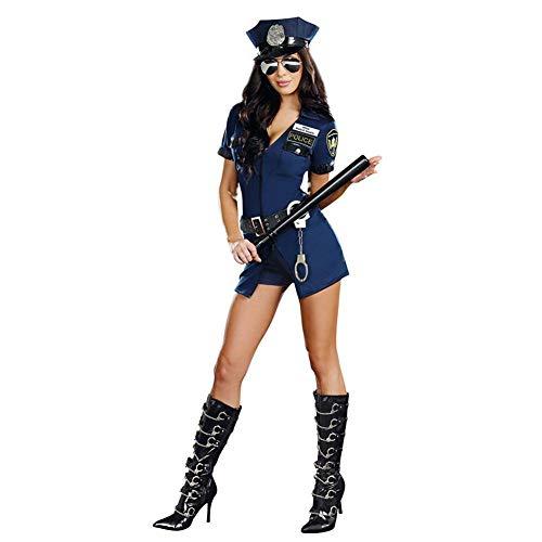 Bouncevi Frauen Polizei Kostüm Adult Halloween Cop Uniform Outfit