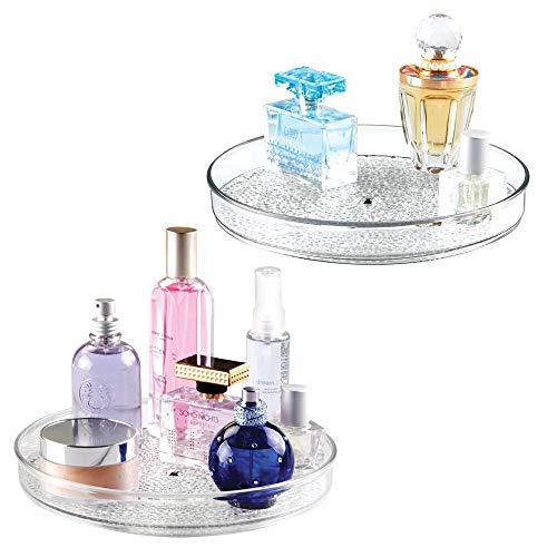 mDesign 2er-Set Drehteller – drehbarer Kosmetik Organizer für Waschtisch und Schrank – zur Makeup- und Kosmetikaufbewahrung – transparent