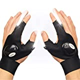 ThxToms LED Flashlight Gloves, Halloween Christmas Stocking Stuffers Birthday Gifts for Men Women Who Has Everything, Hands Free Light Gloves Cool Gadgets Tools, 1 Pair Black