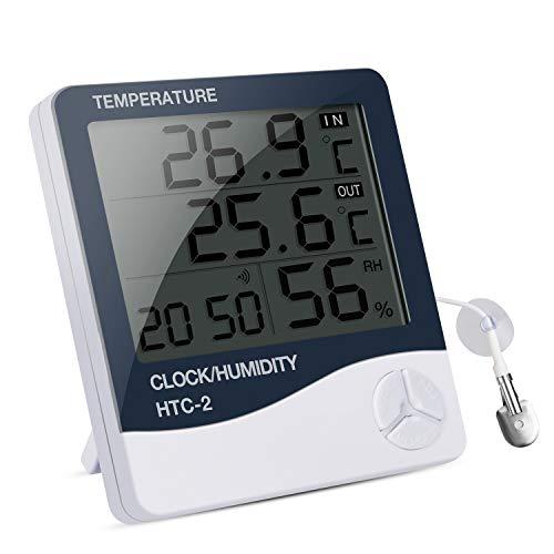 IREENUO Aquarium Thermometer Digitales Wasserthermometer Hygrometer Temperatur Feuchtigkeitsmesser, für Fish Tank Fisch Klima Innen und Außen Monitor mit Alarm