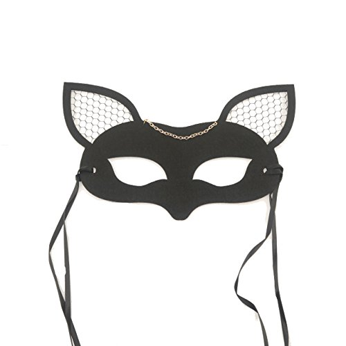 skyllc® Máscara de Cara de Media Cara máscara de Forma de Zorro con Oreja de Malla para Disfraces de Cosplay Halloween Fiesta de Navidad Accesorio