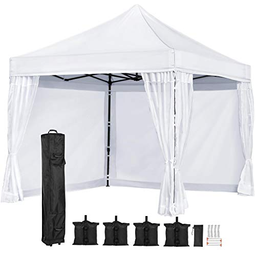 Yaheetech 10x10 ft Outdoor Pop Up Canopy Tent Easy Up Instant Folding Party Wedding Canopy Tent with mesh Sidewalls Netting White