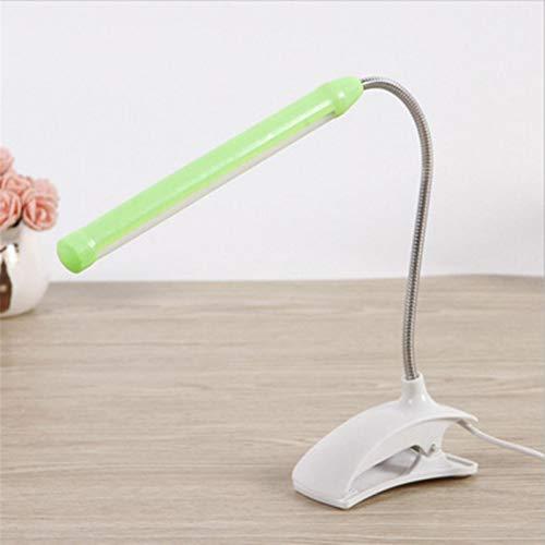 Lámpara de Escritorio LED Flexible Cuello de Cisne de Lectura Luz portátil Clip-on Protección de Ojos Luz de Libro para niños Dormitorio Lámpara de Mesa USB (Body Color : Green)
