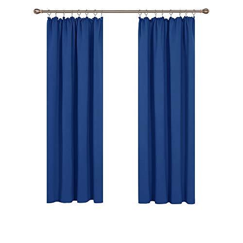 Deconovo Vorhang Gardinen Blickdicht schallschutz mit Kräuselband 175x140 cm Königsblau 2er Set