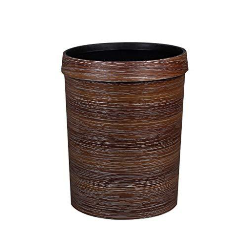 Retro Prullenbak Household Houten Korrel Zonder Cover Vuilnisbak Mimetische Drukken Ring Plastic Bureau Keuken Slaapkamer Garbage Bin