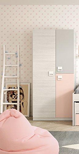 Armario ropero juvenil infantil 3 puertas, barra interior y 3 estantes color blanco, gris y rosa pastel de dormitorio (medida: 90cm ancho x 200cm altura x 52cm fondo)