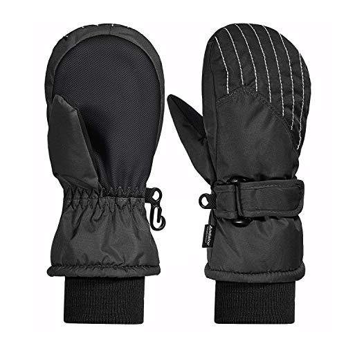 Andake 3M Thinsulate Futter, warm wasserdichte atmungsaktive Membran, Fäustlinge Thermo Handschuhe Winterhandschuhe Kinderhandschuhe Skihandschuhe Baby Kinder Jungen Mädchen, Schwarz, 2-4Y