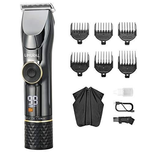 Limural Haarschneidemaschine für Herren, 7 Stunden Betriebsdauer, Professionelles kabelgebundes & kabelloses Haareschneide- & Pflege-Kit mit Akku-LED-Anzeige, geräuscharmer Barttrimmer für Männer