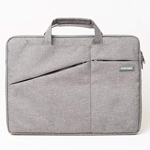 Multi-Functional 13.3 inch Laptop Sleeve Business Briefcase Messenger Bag Computer Protective Bag with Handle Compatible with 13' 13.3' MacBook Air MacBook Pro Dell Lenovo HP Asus Notebook Grey