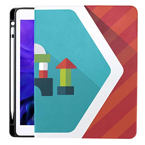 Ipad Pro 12.9 Case 2020 & 2018 with Pencil Holder Brick House Flat Icon Long Shadow Smart Cover Ipad Case, Supports 2nd Gen Pencil Charging,case for 2020 Ipad Pro 12.9 Cover with Auto Sleep/Wake