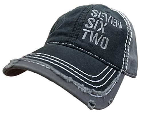 Seven Six Two Ak-47 Hat/Cap Black/Grey Distressed 7.62 Rifle