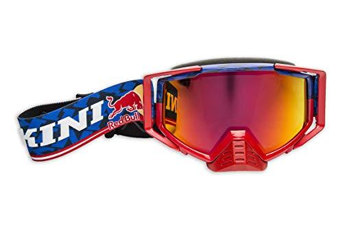 KINI Red Bull Competition Goggles – Motorcross Brille für Herren, Motorsport, Schutz, Abnehmbarer Nasenschutz, Verhindert Schweißbildung – Navy/Red