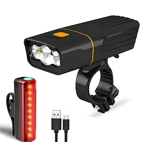 N \ A USB Rechargeable Bicycle Light Set, Super Bright 3 LED 1000 Lumen Bike Front Light and Tail Light Set, IPX5 Waterproof & 5200mAh Power Bank