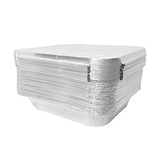 JXXH 9×13 Inches 25 Pack Disposable Aluminum Pans with Lid,Half-Size Deep Aluminum Pans For Grilling,Baking,Heating,Cooking,Food Preparation.