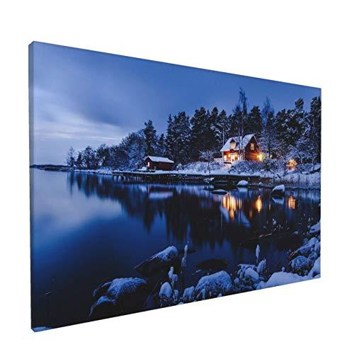 Canvas Wall Art Country Cottages A Suburb Of Stockholm Winter Landscape Sweden One Panel Landscape Nature Artwork Prints, Modern Framed For Home Office Living Room Bedroom Wall Decorations
