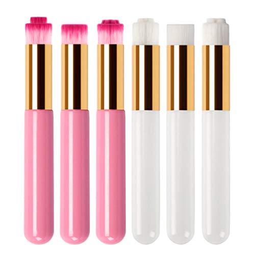 Lurrose 6pcs pores brosses de nettoyage nasal brosse de lavage doux points noirs brosses outils nez nettoyant pinceaux ombre de nez ensemble (blanc et rose)