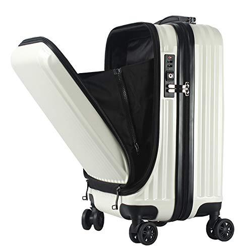 フロントオープン スーツケース 機内持ち込み キャリーバック キャリーケース SSサイズ 軽量 TSAロック 115cm ファスナータイプ BASILO-108 前ポケット(ホワイト)