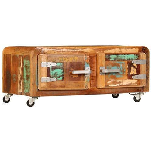 Festnight Tavolino da caffè con Ruote in Legno Massello di Recupero,Tavolino da Salotto,Tavolino Vintage,Tavolino Basso,Tavolino con Ruote,Tavolino da Salotto in Legno Vintage 80x55x40