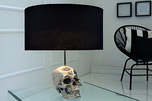Gothic Tischleuchte 44cm Modern Design unkonventioneller Totenkopf Fuß aus Metall Silber Schwarz Wohnzimmer