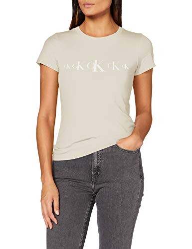 Calvin Klein Jeans Damen Ck Eco Slim Ss Tee Hemd, Soft Cream/Bright White, M