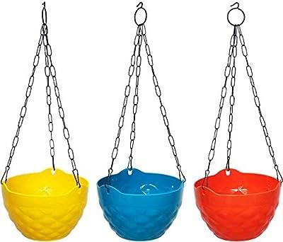 COIR GARDEN-Hanging Garden pots, Diamond Flower pots with Heavy Metal Chain, Set of 3, Yellow, Blue, Orange Color Planter Basket,Flower Pot, 8 inch Dia