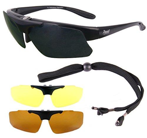 Rapid Eyewear Schwarz Polarisierte RX ANGLERBRILLE für Brillenträger mit Wechselgläsern (x3) für Fliegenfischen, Karpfenangeln, Friedfischangeln usw. Herren Sonnenbrille mit UV400 Schutz