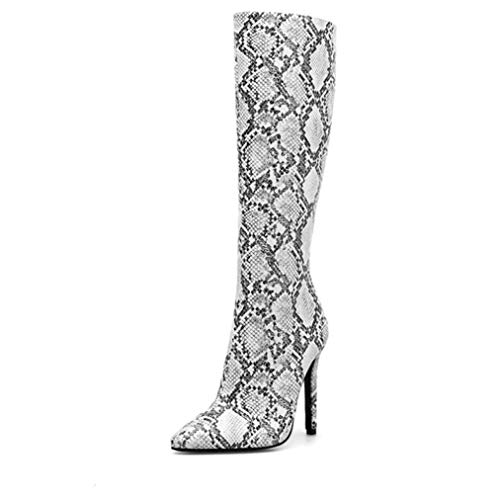 Botas de mujer Cremallera lateral Tacones altos finos Botas de montar con diseño de piel de serpiente Zapatos de punta puntiaguda Bombas de fiesta femeninas Botas altas de rodilla