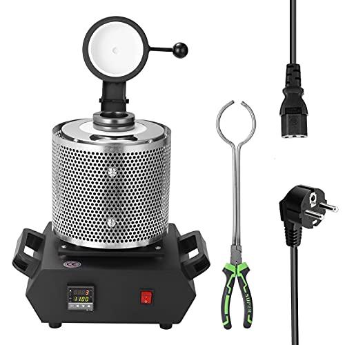 Voupuoda Máquina de horno de fusión digital con sistema PID de capacidad de 3 kg para calentar fundición refinar metales oro plata