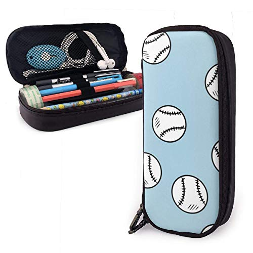 Pencil Case Pen Bag Black and White Line of Baseball Ball Blue Pencil Case, Large Capacity Pen Case Pencil Bag Stationery Pouch Pencil Holder Pouch with Big Compartments