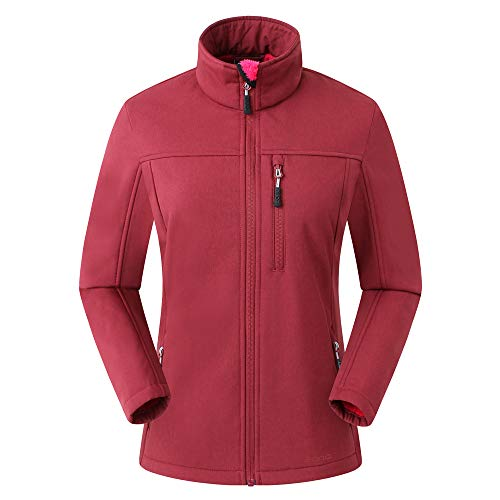 Amazon Marke: Eono Essentials Damen-Softshell-Jacke (Dunkelrot Melange, L)|Winterjacke damen