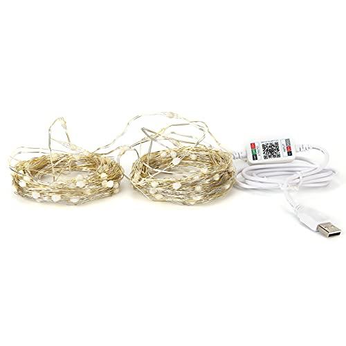 Joyzan 65.6ft 200 LED String Lights, USB Music Light String Phone App Control Bluetooth Twinkle Star Decoraciones navideñas para el hogar, Dormitorio, Fiesta, Bodas, Acción de Gracias, Navidad