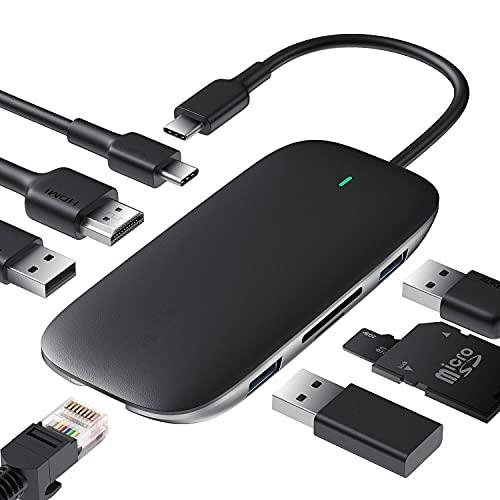 Hub USB C 8 en 1 adaptador de tipo C con puerto Ethernet, 4 K de USB C a HDMI, 2 USB 3.0 y 1 USB 2.0, carga USB C de 100 W, lector SD/TF para todos los dispositivos de Tipo-C