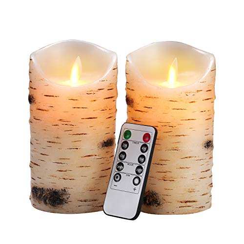 Flameless Candles LED Candles Birch Bark Effect Set of 2 (D:3.25' X H:6') Ivory Real Wax Pillar Battery Operated Candles with Dancing LED Flame 10-Key Remote and Cycling 24 Hours Timerame Timer