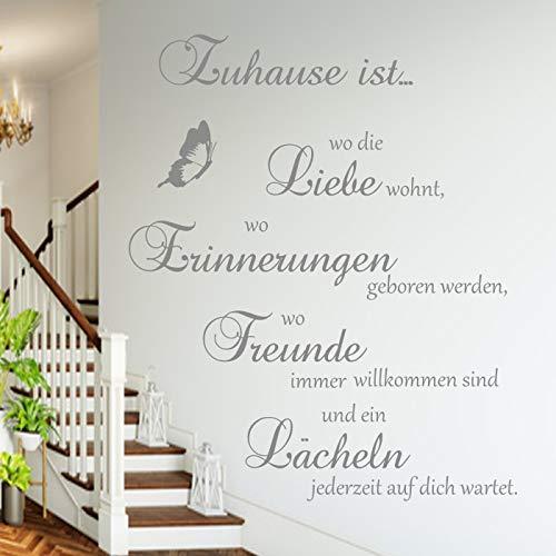 Wandschnörkel ® Wandtattoo Spruch Familie AA126~Zuhause ist wo die Liebe wohnt, wo Erinnerungen geboren werden, wo Freunde immer willkommen sind und ein Lächeln jederzeit auf dich wartet~