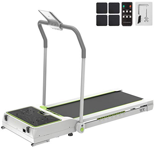 Popsport Smart Treadmill Vibration Platform 3 in 1 Integrate Running Quiet Treadly Treadmill Vibration Plate Folding Digital Portable Under Desk Treadmill Fitness for Home Office(Green with Handle) Treadmills