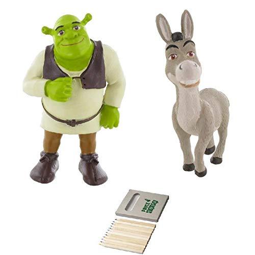 Price Toys Shrek Mini Figura Juguetes - Fiona, Shrek, Burro y el Gato con Botas (Shrek/Donkey)