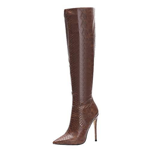 Zanpa Donne Moda Stivali Ginocchio Stiletto Heels Back Zipper Ufficio Stivali Lunghi Festa Stivali Alti Brown Dimensione 40