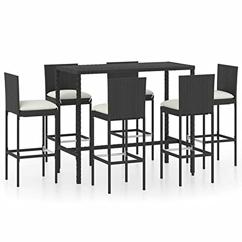 Susany Set de Bar para jardín 7 pzas y Cojines ratán sintético Negro Taburete de Bar Muebles Cocina Silla de Comedor para Salon Cocina Mesa