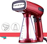 BUSYPIGGY 2020 Travel Garment Steamer, Handheld Foldable Fabric Wrinkle Remover, Portable Steamer for Clothes with 250ml Detachable Water Tank, 25s Fast Heat-up for Cloth, Leak-Proof Design (Red)