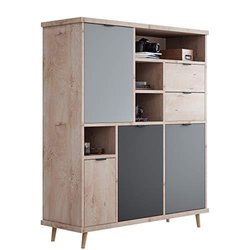 Newfurn Highboard Grau Eiche Hirnholz Kommode Modern Vintage - 120x141x40 cm (BxHxT) - Schrank Sideboard Anrichte - [Conni.Five] Wohnzimmer Schlafzimmer Flur Esszimmer