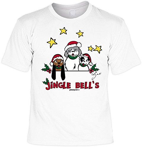 Goodman Design Weihnachtsshirt: Jingle Bells - Mit Weichnachts Schürze - Weihnachten - Geschenk - Weiss