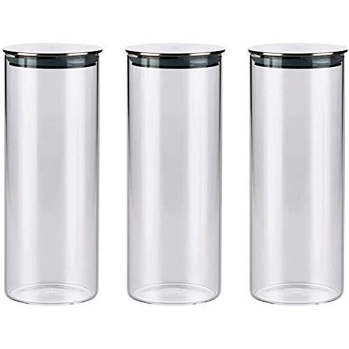 Tarros de Cristal Con Tapa Vidrio hermético de almacenamiento tarros, cocina de almacenamiento de alimentos frasco recipientes con tapa de acero inoxidable y silicona anillo de sellado for para Candy,