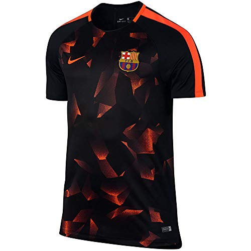 Nike 2017-2018 Barcelona Pre-Match Dry Training Football Soccer T-Shirt Trikot (Black-Crimson)