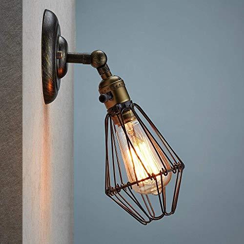 The only goede kwaliteit decoratieve wandlamp systeem ijzer vintage op kooi stijl nostalgie gloeilamp bedlampje gang lamp balkon bar indoor decoratieve directe verlichting D10 * H24,5 (cm) Villa