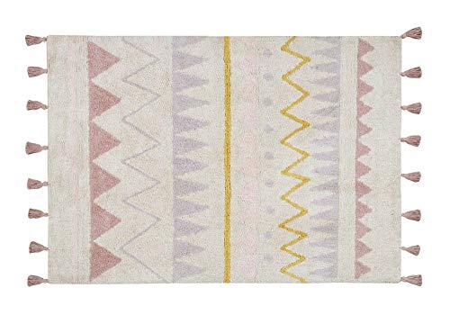 Lorena Canals – Alfombra Azteca Natural Grande, Lavable, de algodón, Color Nude Vintage (140x200x30cm)