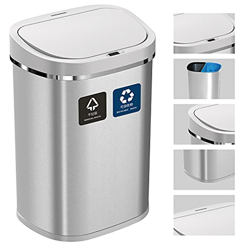Touchless Automatic Recycle Stainless Steel Dustbin 80l Electric Kitchen Recycling Bin With Large Double 40l Compartments For Dual Spilt Waste Separation For Home & Office Trash Can Rubbish Disposal