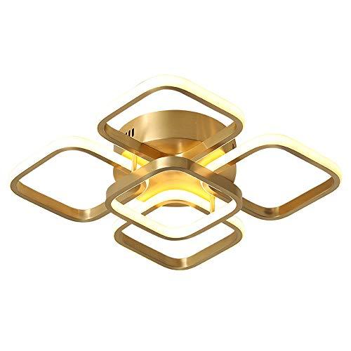 Gold Schlafzimmer Deckenleuchte Einfache Kreativ Esszimmer Deckenlampe Dimmbar mit Fernbedienung LED Messinglampe Modern Kinderzimmer Wohnzimmer Arbeitszimmer Küche Büro Innen Deco-Lampe