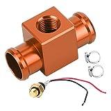 Interruttore di temperatura, termostato in lega di alluminio Interruttore temperatura acqua Radiatore Sensore temperatura ventola refrigerante Sensori temperatura per moto ATV Fuoristrada(arancia)