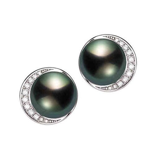 Aartoil - Orecchini a perno in oro bianco 18 carati, con perle da 9 a 10 mm, da donna, in oro bianco