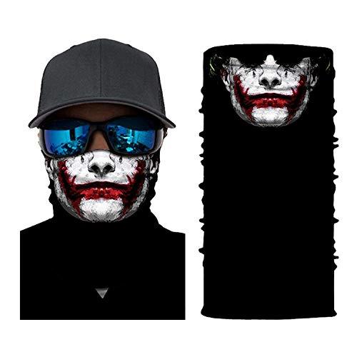 Mask Balaclava Face Sun Mask Skull Pattern Headwear Neck Gaiter for Men Tube Dust Mask Sun UV Dust Wind Proof (Red)